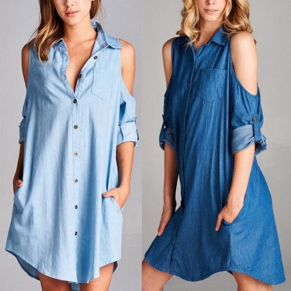 0d4e379eda9d3 🆕CARABELLE open shoulder denim shirt dress - BLUE
