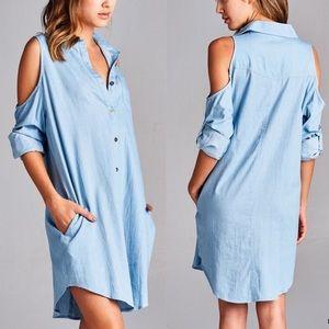 81c4c5c8c0326 Bellanblue Dresses - 🆕CARABELLE open shoulder denim shirt dress - BLUE