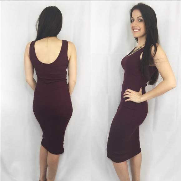 ValMarie Boutique Dresses - LAST ONE! Size L- Burgundy Lightweight Midi Dress
