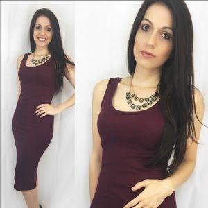 ValMarie Boutique Dresses - LAST ONE! Size L- Burgundy Lightweight Midi Dress