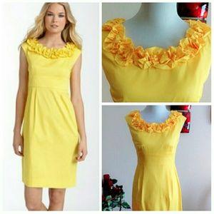 London Times Dresses & Skirts - ⬇Golden Yellow Stretch Dress w Rosettes