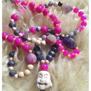 Buddha beaded mala style long necklace yoga boho
