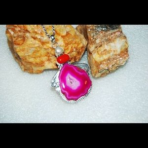 handmade & handcrafted gemstone jewelry Jewelry - Large Statement Drusy & Onyx Pendant