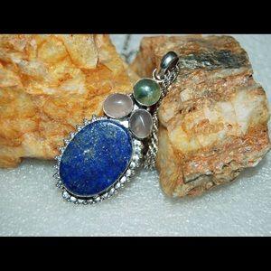 "handmade & handcrafted gemstone jewelry Jewelry - Huge Lapis Lazuli,Prehnite,RoseQz Pendant 2 3/4"""