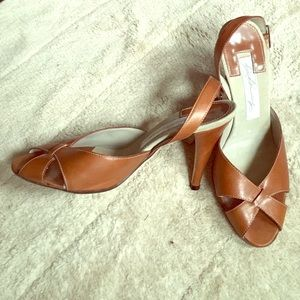 Dianna Broussard Cognac leather high-heeled sandal