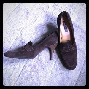 Brown suede heels by Unisa