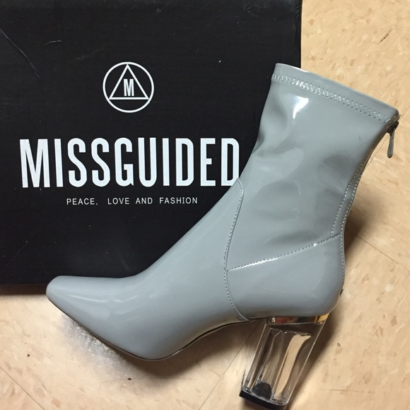 c7d3bed77c Missguided Shoes | Patent Ankle Perspex Heel Grey | Poshmark