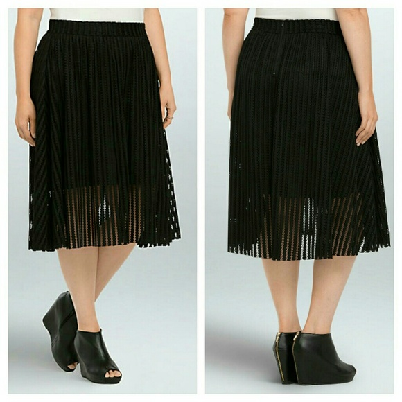 d2323788842 Mesh Stripe A-Line Midi Skirt Plus size black