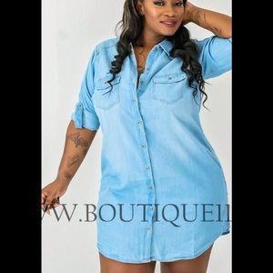 I\'m Looking For PLUS SIZE DENIM SHIRT DRESS -