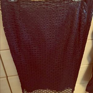 DVF unique black textured knee length skirt