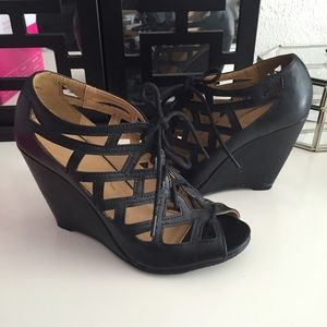 MIA Shoes - Black Caged Lace Up Sandals