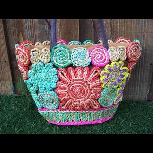 Handbags - Boho Straw shoulder tote bag multi colored NWOT