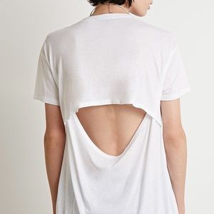 Forever 21 Tops - White Open Back Oversized Tee