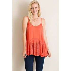 likeNarly Tops - Love Your Sway Lace Tank - Coral