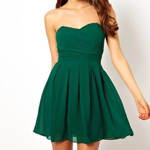 Green mini prom dress in pleated chiffon