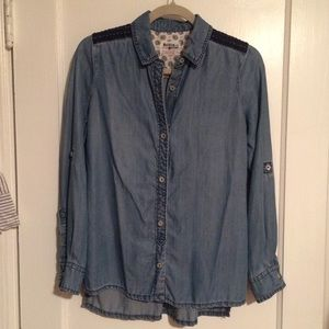 Anthropologie embroidered chambray button down