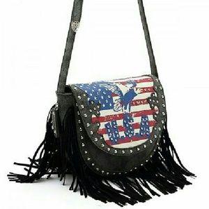 Handbags - SOLD!!! Western US Flag & Eagle Black Fringe