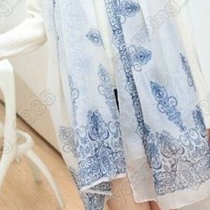 Top Rated Blue and white chiffon scarf