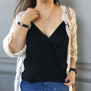 Tops - Black Wrap Front Cami Tank