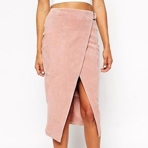 Asos D ring Pencil Skirt • Suede • Pink • Midi