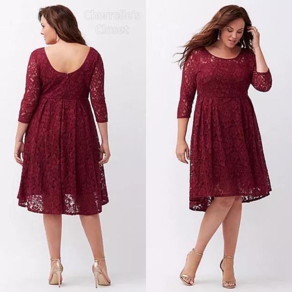 d32154316a54a Lane Bryant Illusion Lace Fit   Flare Dress Plus
