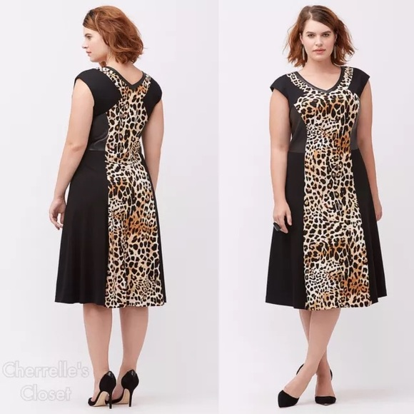 5421dbed751 Lane Bryant Leopard Inset Dress Plus Size NWT