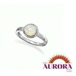 THE AURORA CO. .925 sterling silver & opal ring