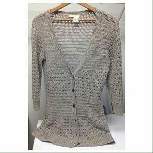 DKNY Tops - DKNY Grey Crochet Cardigan