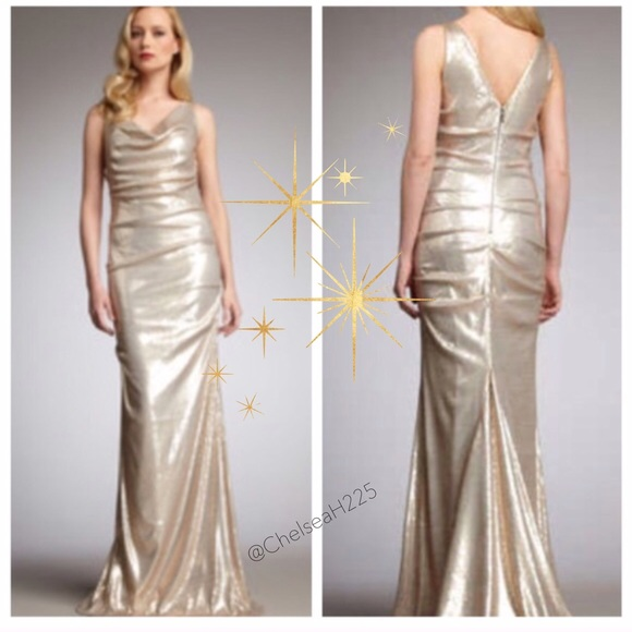 Nicole Miller Dresses | Lowest Champagne Gold Sequin Gown | Poshmark