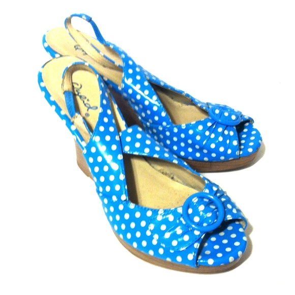 Playful Blue and White Polka Dot Shoes