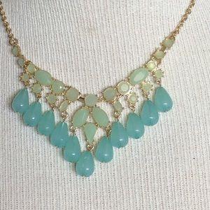 Mint green Aqua gold statement necklace new