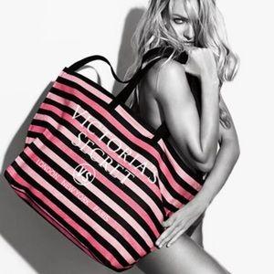 Victoria's Secret pink stripe tote weekender bag