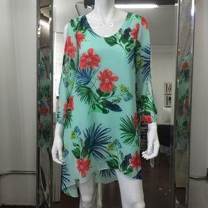 Floral chiffon dress Designer sample size 4