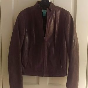 Brown Leather Bomber Motorcycle Jacket S