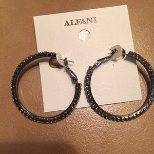 Black and stone hoop earrings