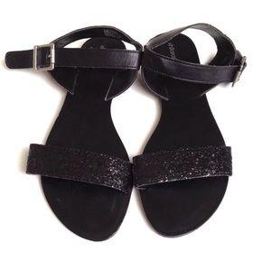 Shoes - Black Glitter Flat Sandals, Sz 9