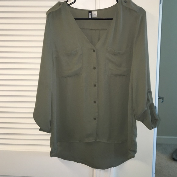 cf3a406a H&M Tops | Divided By Hm Size 4 Flowy Olive Green Shirt | Poshmark