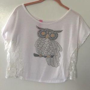 Retro Chic Tops - White owl crop top