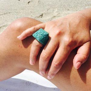 Handmade Jewelry - Peruvian Blue Chrysocolla Statement Ring