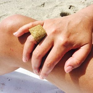 Crushed Gold Glass Statement Ring