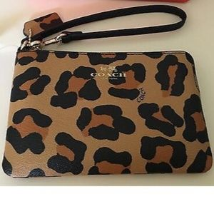 Coach Handbags - Coach Leather Wristlet - Leopard