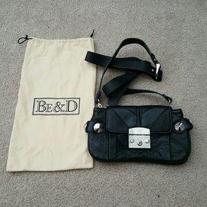 Be & D Handbags - Be & D Crossbody Black Leather Bag Silver Stud