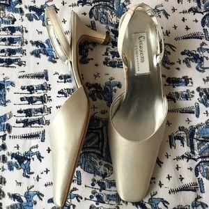 White satin dress shoes