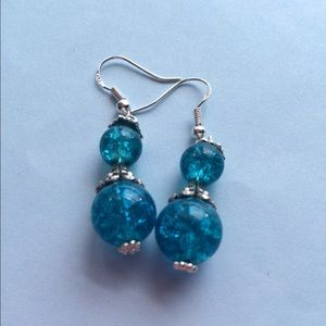 Crackled Blue Glass Beads in Silver ❤️❤️SALE! SALE