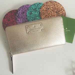 NEW Kate Spade Rose Gold Metallic Wallet
