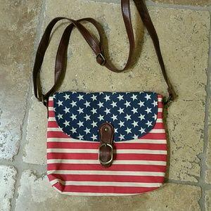 Black Poppy Handbags - American Flag Crossbody