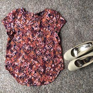 Floral shirt sleeve blouse