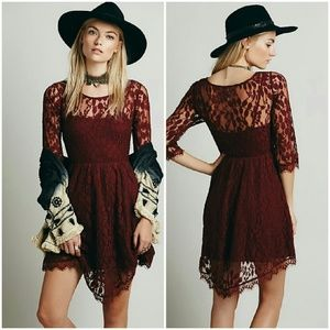Floral Embroidered Mesh Lace Dress