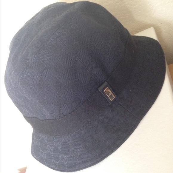 ec5a6886e GUCCI: black monogrammed rain/bucket/fedora