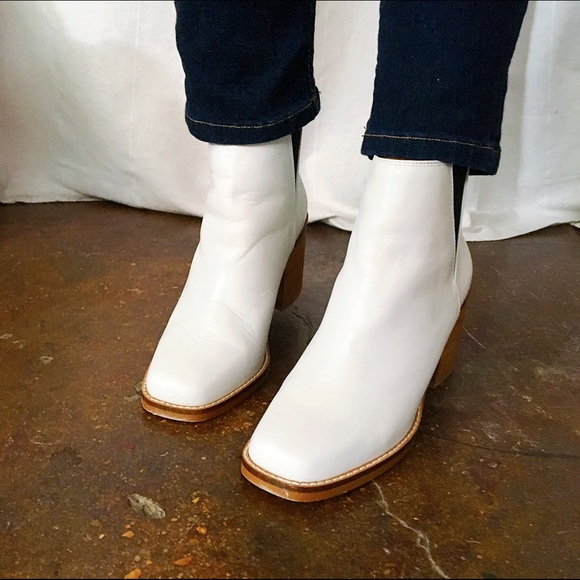 Shellys Shoes - Shelley's White Ankle Boots